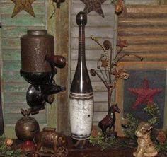 """Primitive Antique Vtg Style Wooden 17"""" Juggling Circus Club Exercise Bowling Pin…"""