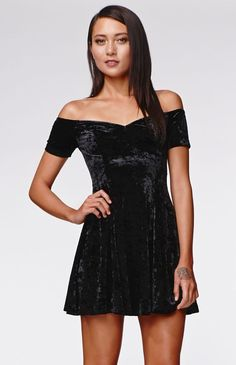 Off Shoulder Black Crushed Velevet Fit & Flare Dress by Kendall & Kylie for PacSun. man I love this