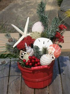 BEACH DECOR Christmas bucket arrangement beach by justbeachynow Coastal Christmas Decor, Nautical Christmas, Beach Christmas, Christmas In July, Christmas Wreaths, Christmas Ornaments, Tropical Christmas Decorations, Caribbean Christmas, Christmas Girls