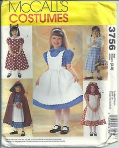 McCall's Sewing Pattern 3756 Storybook Characters Costumes