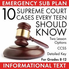 Whether you need a one-or-two day emergency sub plan or just want to slide a little more informational text into your curriculum, this free and fun lesson has what you need  a well-written, high-interest article from the New York Times on the 10 Supreme Court Cases Every Teen Should Know, a topic that will hook your students attention and inspire lively debate, and a packet of print-and-go handouts to help students work through the text.This FREE activity includes: A sheet of Suggested…