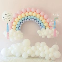 Pastel Balloon Garland Kit Rainbow Balloon Arch Macaron Candy Colored Latex Balloons for Wedding Engagement Birthday Party Baby Shower Decorations Rainbow First Birthday, Baby Girl Birthday, Unicorn Birthday Parties, Birthday Ideas, Rainbow Balloon Arch, Balloon Garland, Balloon Balloon, Balloon Arch Diy, Birthday Balloon Decorations