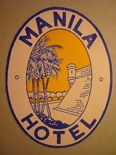 Etiquette MANILA HOTEL Manille Philippines Filipinos - Luggage label