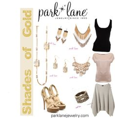 """Shades of Gold"" by parklanejewelry on Polyvore  Get this bling!   Visit www.jennsblingthing.com"