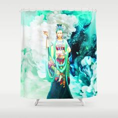 The Goddess of Mercy Shower Curtain Watercolor Feather, Watercolor Art, Energy Symbols, Painting For Kids, Buttonholes, Bohemian Decor, Curtain Rods, Christmas Gifts, Tapestry