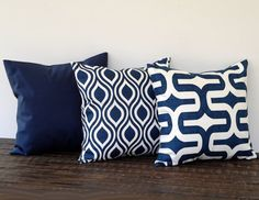Navy Blue pillow cover 16 x 16 One cushion by ThePillowPeople