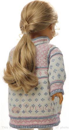 Breipatronen voor poppenkleertjes - Sierlijk zomerjurkje in het wit, blauwgrijs en roze