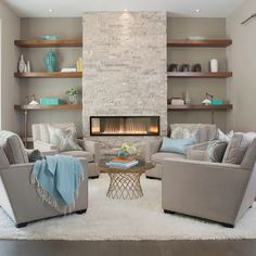 Fireplace Tv Wall, Linear Fireplace, Fireplace Remodel, Living Room With Fireplace, Fireplace Surrounds, Stone Wall Living Room, Modern Stone Fireplace, Fireplace Ideas, Fireplace With Shelves