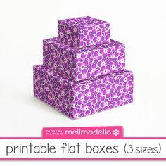printable flat boxes Léontine purple 3 sizes par melimodello