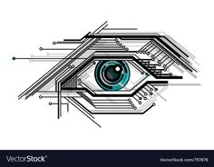 Abstract conceptual tech stylized eye vector image on VectorStock Futuristic Technology, Technology Design, Computer Technology, Technology Logo, Technology Gadgets, Educational Technology, Tech Gadgets, Technology Wallpaper, Technology Background