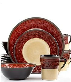 b80d729afce Signature Living Signal Hill Burgundy 16-Piece Stoneware Dinnerware Set   Service for 4 by