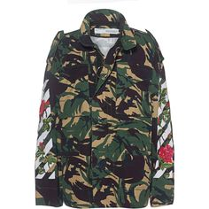 OFF-WHITE C/O VIRGIL ABLOH Diagonal Roses Camouflage // Patterned... ($1,470) ❤ liked on Polyvore featuring outerwear, jackets, camo jacket, white camo jacket, camo print jacket, white zipper jacket and camoflage jacket