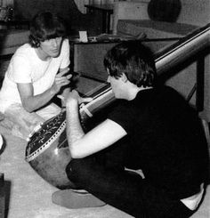 Beatles George Harrison and Paul McCartney with Sitar