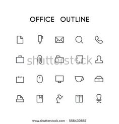 Office outline icon set - search, pen, document, phone, mail, briefcase, folder, paperclip, notepad, man, mouse, computer, printer, book and others simple vector symbols. Business and work signs.