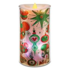 Mickey and Minnie Mouse Holiday Light-Up Candle