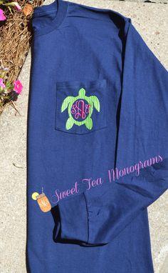 Turtle+Monogram+Long+Sleeve+Pocket+Tshirt+by+SweetTeaMonograms,+$32.50