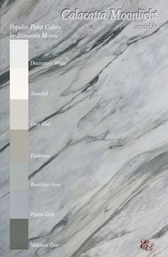Calacatta marble for kitchen and bathroom countertops. Calacatta Moonlight is a marble with dramatic appeal in its movement, while its predominant beige and grey veining, with tints of blues and greens, creates a soft and soothing effect that only marble can provide. Though quarried in Italy, it is imported and available for immediate distribution at Ecstatic Stone, LLC in Columbia, SC. #calacattamarble #benjaminmoore #whitegraybeigebluegreen #kitchendesign #countertops