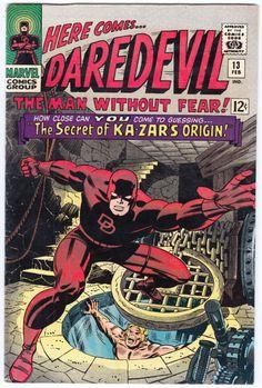 Daredevil #13 ,February1966, Marvel Comics Vol 1 1964On the cover : Daredevil [ Matt Murdock ] ;Ka-Zar [ Lord Kevin Reginald , Kevin Plunder , Lord Plunder]