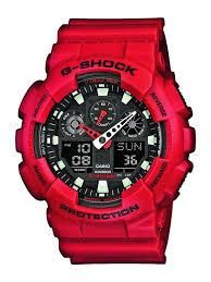 The highly anticipated G-Shock XL guys watch has arrived. This matte red G-Shock GA 100 watch has a smooth resin case and extra large black digital display. In traditional G-Shock fashion, the watch is shock resistant and water re G Shock Watches Mens, G Shock Men, Sport Watches, Cool Watches, Watches For Men, Red Watches, Wrist Watches, Popular Watches, Ladies Watches
