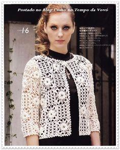 Women's sweater crochet pattern 0003 Crochet Coat, Crochet Jacket, Crochet Cardigan, Filet Crochet, Crochet Clothes, Crochet Beach Dress, Crochet Patterns, Knitting, Women
