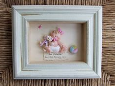 Personalised New Baby Plaque Gift, Polymer Clay Picture, Boy or Girl