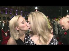 These articles are always so dumb but Natalie Dormer and JLaw (aka my girl crushes) kissing...sploosh!   Jennifer Lawrence surprises Natalie Dormer with kiss at 'Hunger Games' premiere | EW.com