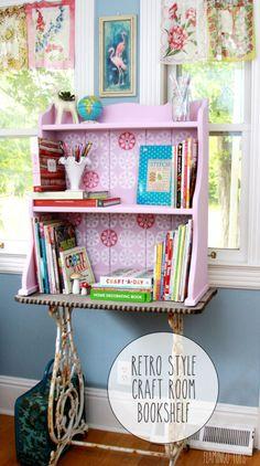 Retro Style Craft Room Bookshelf