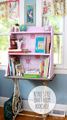 Cute and Colorful DIY Retro Style Craft Room Bookshelf Painted with Furniture Stencils - Royal Design Studio
