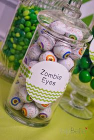 Guess how many zombie eyes are in the jar Zombie Halloween Party, Zombie Birthday Parties, Birthday Party Games, Halloween Birthday, Birthday Fun, Zombie Themed Party, Halloween Candy Bar, Birthday Ideas, Nerf Party