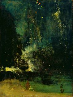 """Artist of the day: James McNeill Whistler--Nocturne in Black and Gold: The Falling Rocket. Whistler wanted to create harmonies with color that parallel those achieved in music. To underscore that purpose, he gives his paintings musical titles, such as """"arrangements"""" and """"nocturnes"""". He was criticized very harshly by another painter, and took him to court, where he won, but it destroyed his career because of costs, but his beautiful paintings remain stunning and post-impressionistic."""