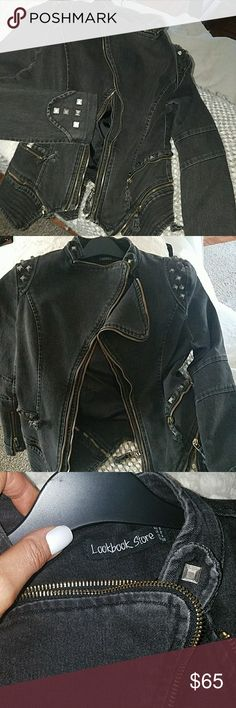 embellished jean jacket SUPER COOL double zipped tailored mid length jean jacket from the LookBook store Brand New Never taken out of closet was ordered online so no tags. Metal grommet detail in a brushed like silver gold zippers off black color stretchy fabric Super cute on👠👠👠💄💄💄💄💄 LookBook Store Jackets & Coats Jean Jackets