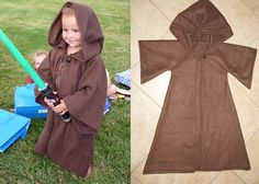 Easy last-minute Halloween costumes for kids: Grab a bath room or use this pattern from Bayberry Creek to make a last-minute Jedi.
