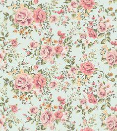 Papel de parede tematica floral com flores em rose, carmim e detalhes laranjas com musgo, fundo em tons verde - Rose 02