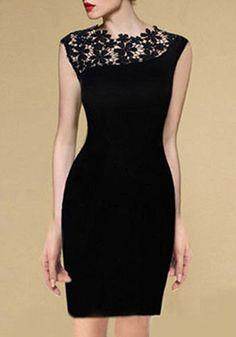 Black Patchwork Hollow-out Lace Shoulder Wrap Cotton Dress - Mini Dresses - Dresses