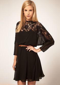 Lace & Chiffon Black Dress