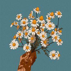 Libby Frame Illustration — A handful of daisies Flower Aesthetic, Aesthetic Art, Aesthetic Anime, Japon Illustration, Anime Scenery, Cute Wallpapers, Collage Art, Cute Art, Art Inspo