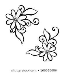 Beautiful Decorative Flower with Leaves (Vector), Patterned design by IrinaKrivoruchko, via Shutterstock Easy Flower Drawings, Art Drawings Sketches Simple, Doodle Drawings, Hand Embroidery Flowers, Hand Embroidery Designs, Embroidery Patterns, Flower Patterns, Flower Designs, Pix Art