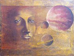 De cirkel is rond Round is the circle, mixed media on canvas, 90 x 70 cm. Op het niveau van de allerkleinste deeltjes zijn we allemaal gelijk en bestaat er geen verschil tussen ons en alles wat ons omringt. We zijn onderdeel van één grote cyclus die we zelf nog niet kunnen bevatten. We voelen ons heel groots maar in feite zijn we miniscule onderdeeltjes van het grotere geheel.