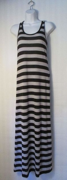 AMBIANCE APPAREL, Black and Grey Striped Maxi Dress, Size M #AmbianceApparel #Maxi #Casual