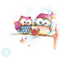 Cute Owls Watercolor Owl Prints Owl Artwork by BrilliantCritter