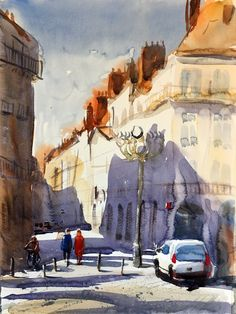 Nantes, 2016. Emergency landing in Nantes, France, during the journey home from Tenerife. Found this view in the morning the day after. Watercolor, Stefan Gadnell