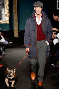 Michael Bastian F2012    I don't particularly like this outfit; I would, however, like to airlift this cute dude and his precious dog onto a sidewalk and join my dream husband on a walk to the farmers market.