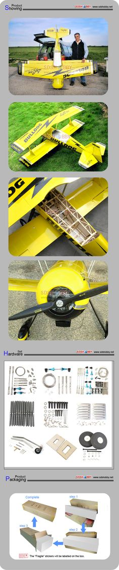 Pitts-s12 50cc gas airplane-- bulldog yellow color (A)