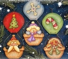 "- ""Holiday Hot Air Balloon Ornaments"" - Painting E Pattern by Cyndi Combs Christmas Rock, All Things Christmas, Christmas Crafts, Christmas Decorations, Christmas Ornaments, Pintura Country, Painted Ornaments, Ornaments Design, Gingerbread Ornaments"