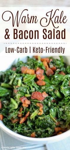 Try this Warm Kale and Bacon Salad or a Low-Carb and Keto-Friendly meal. Find the recipe at gracefullittlehoneybee.com #kale #bacon #lowcarb Low Carb Side Dishes, Side Dish Recipes, Kale Salad Recipes, Healthy Recipes, Salad Recipes Low Carb, Delicious Recipes, Tasty, Warm Kale Salad, Bacon Kale