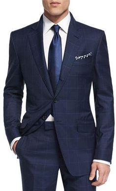 TOM FORD O'Connor Base Plaid Two-Piece Suit, Navy