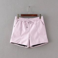 Faux Leather Pink Shorts Elastic Waist Ribbons Pocket Casual