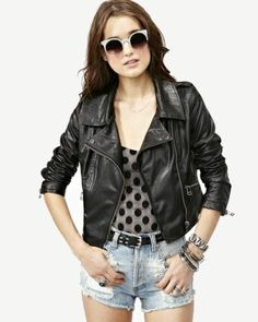 leather jacket and faded shorts