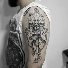 Avatar The Last Airbender Art Discover Aang tattoo Avatar: the last air bender Aang tattoo Avatar: the last air bender Tattoo Geek, Avatar Tattoo, Naruto Tattoo, Tattoo Henna, Cartoon Tattoos, Anime Tattoos, Body Art Tattoos, Sleeve Tattoos, Cool Tattoos