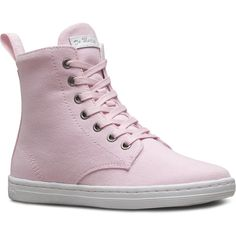 Dr. Martens Hackney Short Lace-Up Low Boot ($75) ❤ liked on Polyvore featuring shoes, boots, ankle booties, bubblegum pink, pink lace up boots, short lace up boots, pink booties, laced up boots and pink lace up booties